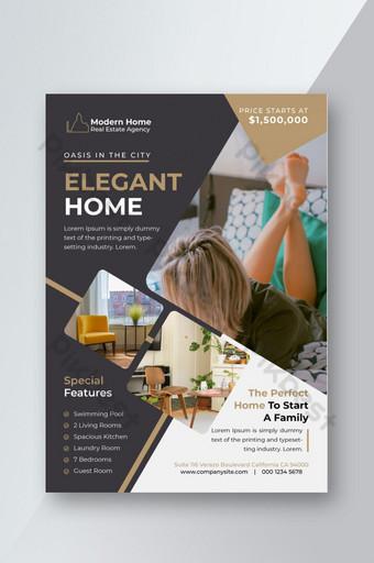 Modèle de Flyer de design d'intérieur de propriété immobilière moderne élégante et élégante Modèle AI