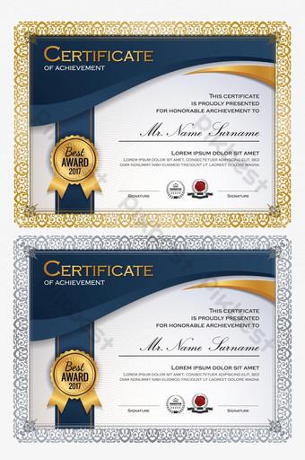 Modello di certificato di successo elegante blu e oro Sagoma AI