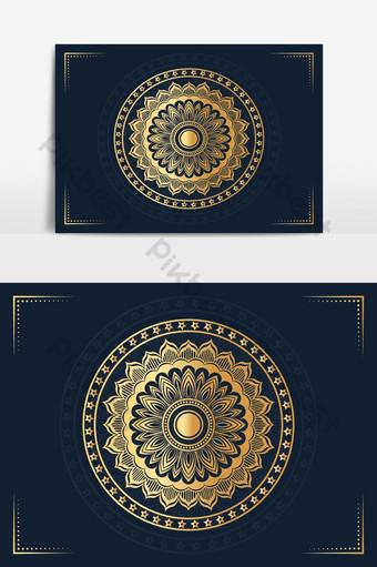 خلفية تصميم ماندالا الإسلامية الفاخرة باللون الذهبي صور PNG قالب PSD