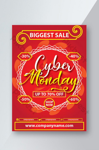 merah dan emas cyber monday sale promosi desain poster spanduk diskon selebaran Templat EPS