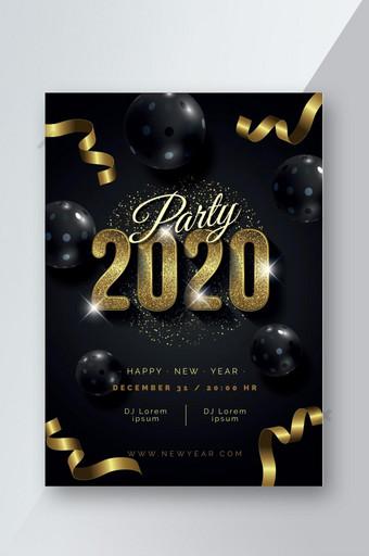 plantilla realista de póster de fiesta de año nuevo 2020 Modelo AI