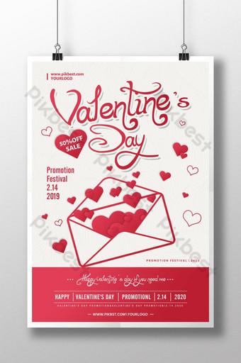 sobre del diseño del cartel del amor del día de san valentín Modelo PSD