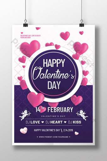 diseño de cartel de amor púrpura del día de san valentín Modelo PSD