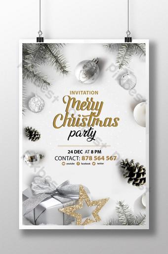 Affiche cool de fête de joyeux Noël psd Modèle PSD