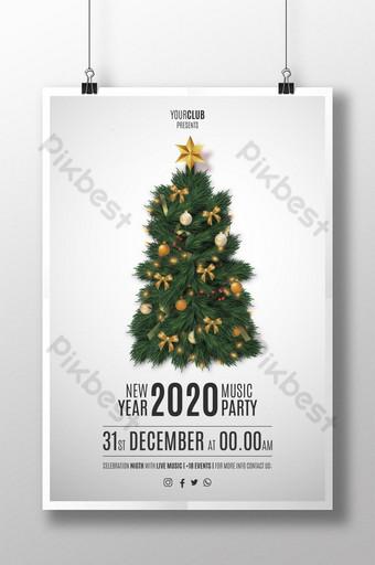 affiche de flyer de fête de joyeux noël avec arbre de noël réaliste 2020 Modèle EPS