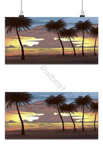 Background vector illustration of the beach, sea, sunset sky With coconut trees and birds Backgrounds Template AI
