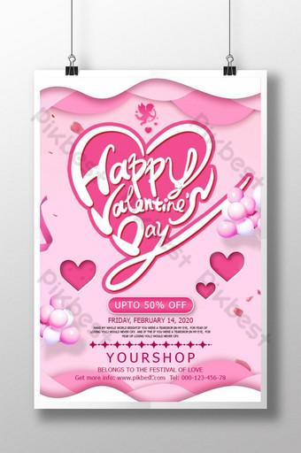 pôster de promoção do dia dos namorados de amor simples rosa Modelo PSD