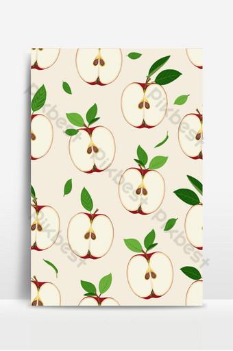 Patrón sin fisuras de manzana y rebanada con hojas sobre fondo vintage manzanas rojas frutas Fondos Modelo EPS
