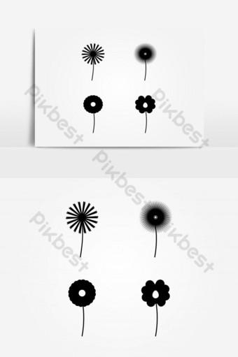 vector conjunto de formas de flores simples Elementos graficos Modelo AI
