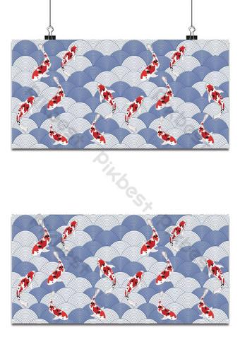 Ilustración vectorial de peces en la onda de agua de patrones sin fisuras asiáticos ornamento abstracto Japón Fondos Modelo EPS