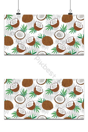 Seamless pattern whole coconut and piece with palm leaves on white background, Vector Backgrounds Template EPS
