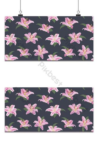 Patrón sin fisuras de flor de lirio sobre fondo azul ilustración de vector floral de lirio rosa Fondos Modelo EPS