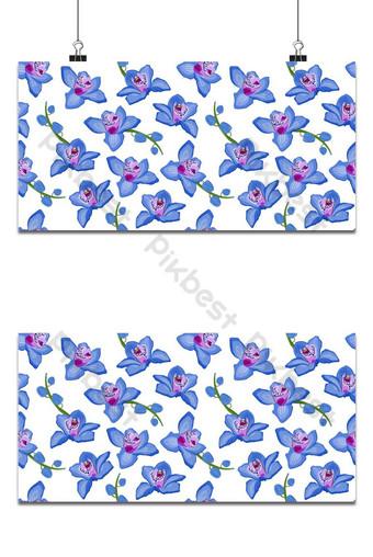 orquídea azul, floral, seamless, patrón, flores, florecer, flor, follaje, blanco, plano de fondo Fondos Modelo EPS