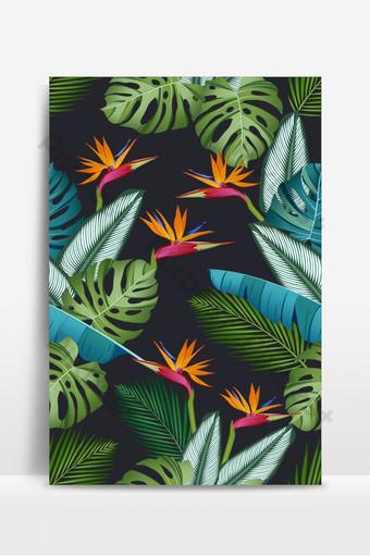 無縫模式與天堂鳥熱帶葉棕櫚龜背竹calathea叢林 背景 模板 EPS