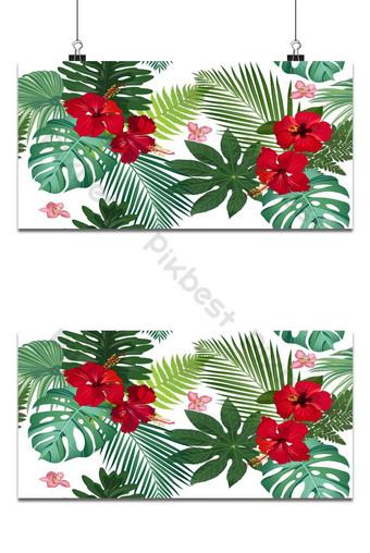 سلس نمط مكافحة ناقلات الأوراق الاستوائية مع زهرة الكركديه الأحمر وأوركيد الوردي على white خلفيات قالب EPS