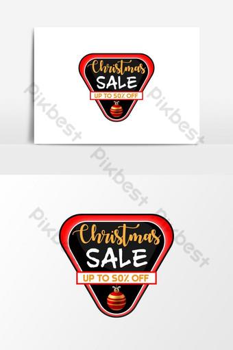 botón web de insignia de descuento de banner de venta de navidad negro y rojo Elementos graficos Modelo EPS