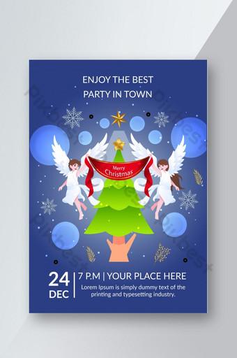 Modèle de conception de flyer de fête de Noël d'hiver Modèle AI
