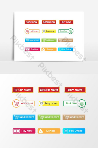 Set of Various Web Button Vector Colorful Design PNG Images Template EPS
