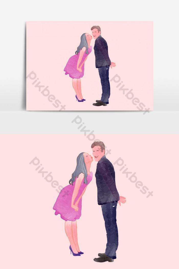 aquarela casal fofo ama o dia dos namorados