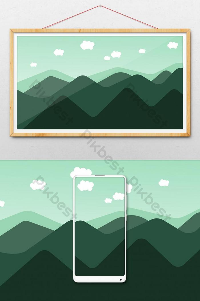 pemandangan siluet pegunungan ilustrasi