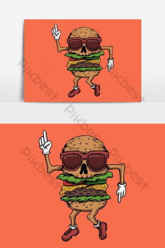 Ilustración de vector de baile de hamburguesa de cráneo para su empresa o marca Elementos graficos Modelo EPS