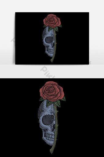 Ilustración de vector vintage rosa calavera para su empresa o marca Elementos graficos Modelo EPS