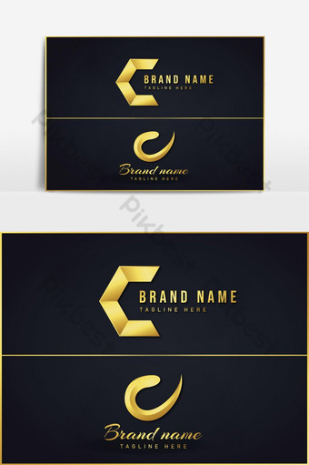 Logotipo de la letra c con diseño de lujo dorado. Elementos graficos Modelo AI