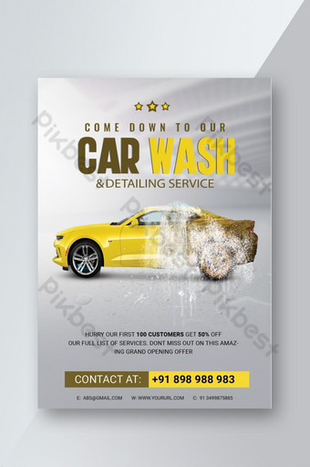 folleto psd del servicio rápido de lavado de autos Modelo PSD