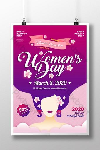 cartel de promoción de flores de vacaciones de silueta de personas rosadas del día de la mujer Modelo PSD