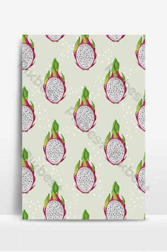 rebanada de fruta de dragón de patrones sin fisuras con semillas sobre fondo verde pastel exótico tropical Fondos Modelo EPS