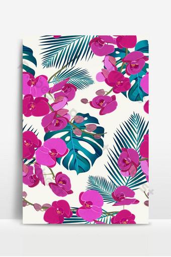 Patrón transparente floral orquídea rosa con hojas tropicales sobre fondo blanco. Fondos Modelo EPS