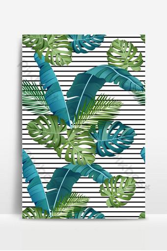 無縫模式與熱帶葉棕櫚樹龜背竹香蕉葉叢林葉 背景 模板 EPS