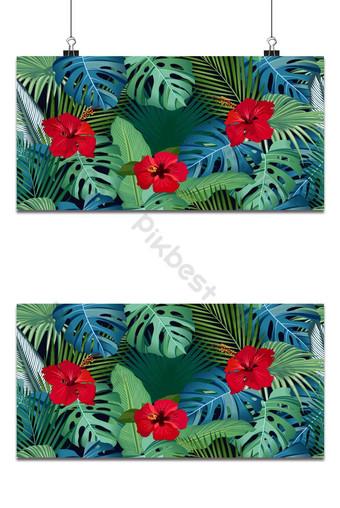 سلس نمط مكافحة ناقلات الأوراق الاستوائية مع زهرة الكركديه الأحمر على خلفية سوداء خلفيات قالب EPS