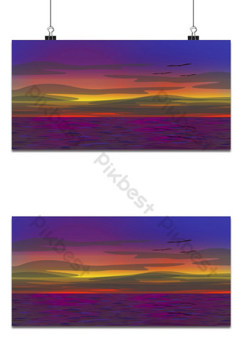 Sea in sunset time. The sky has various color lights. The sea is purple. Backgrounds Template AI