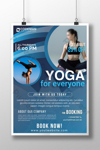 Modèle d'affiche de gymnase de yoga unique et coloré pour entraîneur de gymnastique et de yoga Modèle AI