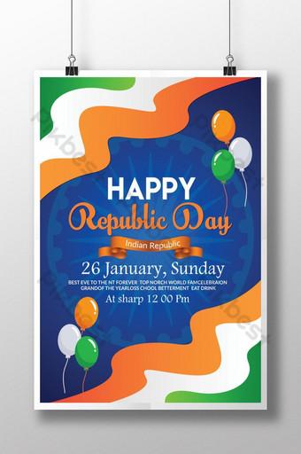 سعيد جدا ملصقات يوم الجمهورية الهندية قالب PSD