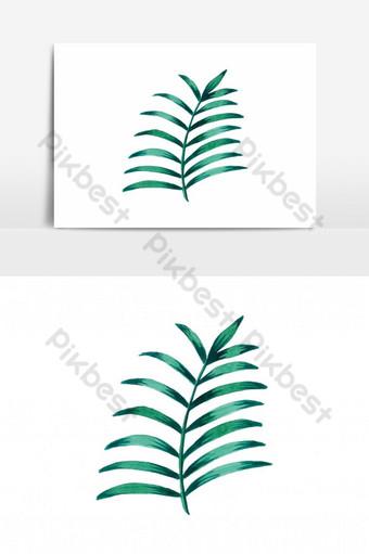 Piękny liść wektor akwarela Elementy graficzne Szablon AI