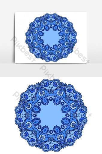 vector plato decorativo con mandala redondo hermoso adorno azul en estilo étnico Elementos graficos Modelo AI