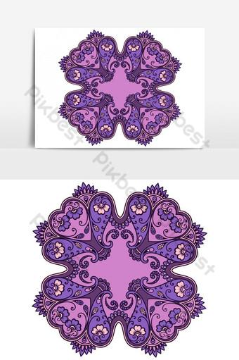 Ilustración de vector de ornamento redondo floral violeta Elementos graficos Modelo AI