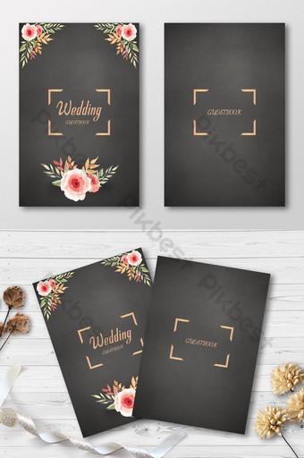سعيد حديقة الأزهار بطاقة دعوة الزفاف الذهبية قالب PSD