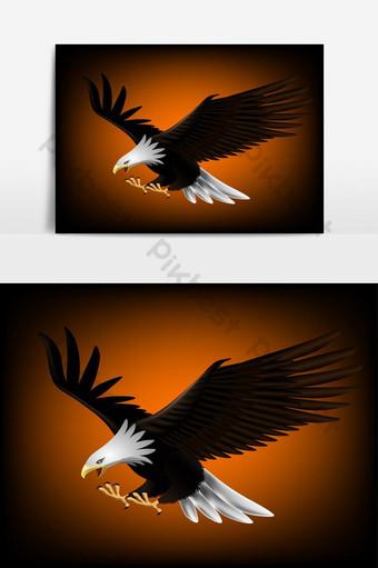 Ilustración vectorial de un águila que está volando y atrapando presas Elementos graficos Modelo AI