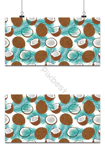 Seamless pattern whole coconut and piece with blue palm leaves, Vector illustration Backgrounds Template EPS