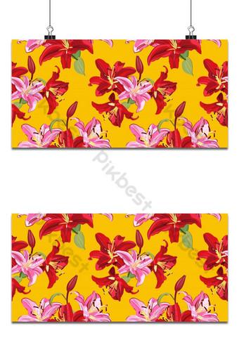 patrón sin costuras de flor de lirio sobre fondo amarillo vector floral de lirio rosa y rojo Fondos Modelo EPS