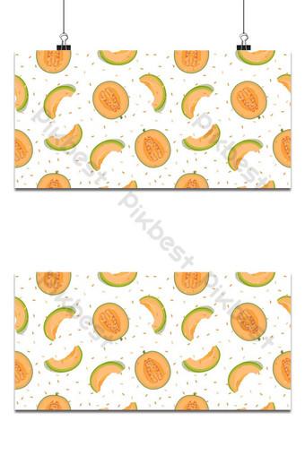 La mitad del melón y la rebanada de patrones sin fisuras sobre fondo blanco con semillas de melón fresco Fondos Modelo EPS