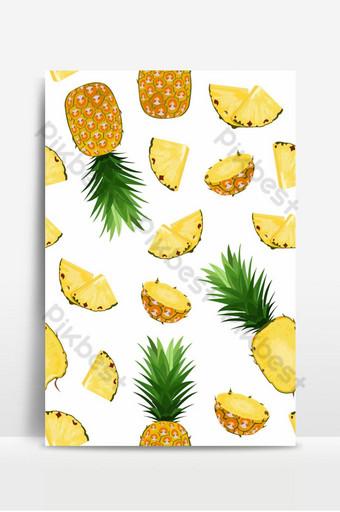 菠蘿水果和切片無縫模式在白色背景夏天背景鳳梨 背景 模板 EPS