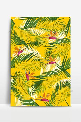 無縫模式棕櫚葉與天堂鳥在黃色背景上 背景 模板 EPS