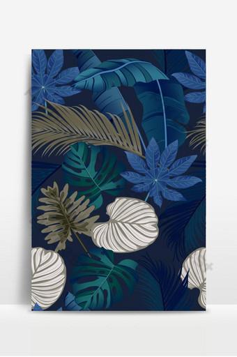 豪華無縫模式與深藍色背景上的熱帶樹葉 背景 模板 EPS