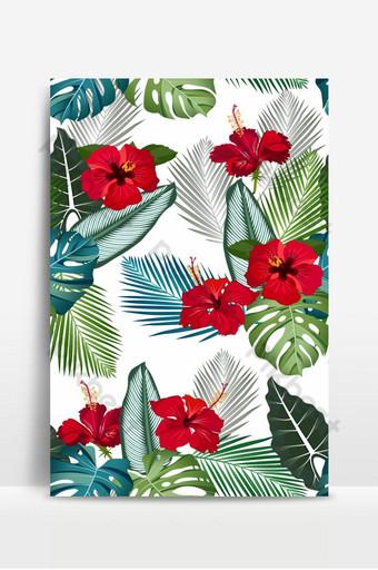 Patrón de vector transparente hojas tropicales con flor de hibisco rojo sobre fondo blanco. Fondos Modelo EPS