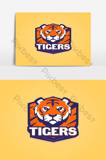 elemento gráfico de vector de logotipo de tigre de deporte plano Elementos graficos Modelo PSD