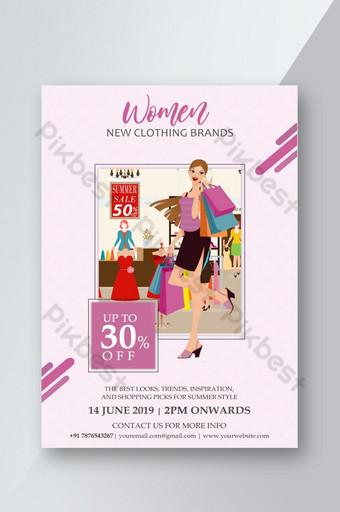 venta de mujeres con estilo flyer de moda psd Modelo PSD